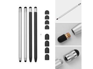 2 in 1 Universal Touchscreen Stylus Pen for All Touchscreen Tablets Cell Phones with 8 Extra Replaceable Soft Rubber Tips 4pcs 2Black/2Silver