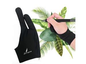 Black Artist Glove Two-Finger Free Size Drawing Glove Anti-fouling Reduce Friction Great for Right & Left Hand for Light Box Compatible with Ugee\Huion\Gaoman\Bosto Graphics Drawing Tablet