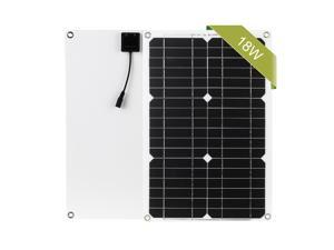 18W 12V Solar Panel Kit Dual USB Port Off Grid Monocrystalline Module with SAE Connection Cable Kits