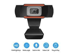 1080P Webcam Auto Focus USB Web Camera Built-in Noise Reduction Microphone for Laptop Desktop