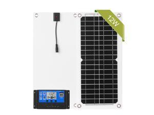 12W 12V Solar Panel Kit with Charge Controller USB Port Off Grid Monocrystalline Module with SAE Connection Cable Kits for Camping Car Boat Marine