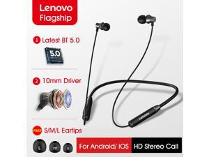 Lenovo HE05 BT Earphones BT5.0 Sports Sweatproof Headset Neckband Wireless Running Headphone Noise Cancelling Magnetic Earbuds With Mic Compatible with iPhone Huawei Samsung Xiaomi