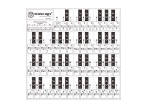 Removable Piano Keyboard Stickers for 37/ 49/ 61/ 88 Keys Keyboards Transparent with Musical Stave for Kids Beginners Piano Learning Practice