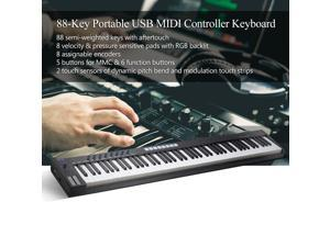 WORLDE Blue whale 88 Portable USB MIDI Controller Keyboard 88 Semi-weighted Keys 8 RGB Backlit Trigger Pads LED Display with USB Cable