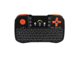 TZ10 2.4GHz Wireless Keyboard Touchpad Mouse Handheld Remote Control with Colorful Backlight for Android TV Box Smart TV PC Notebook Laptop Black