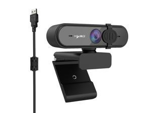 1080P USB Webcam Auto Focus Web Camera with Privacy Cover Built-in Noise Reduction Microphone for Laptop Desktop Black