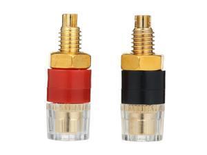1Pair Speaker Audio Amplifier Transparent Terminal Black & Red Binding Post Gold plated Terminals for 4mm Banana Plug Jack