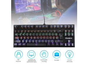 Illuminated Keyboard 87 Keys Gaming Keyboard USB Powered Operated 3 Levels Adjustable Brightness Dimmable for Computer Laptop E-sports Compatible with WINDOWS/95/98/Me/NT/XP/W7 System