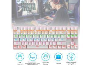 Illuminated Keyboard 87 Keys Gaming Keyboard USB Powered Operated Diverse Lighting Effect for Computer Laptop E-sports Compatible with WINDOWS XP/ WIN 7/ WIN 8/ WIN 10/ IOS System