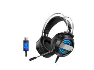 MC Gaming Headset 7.1 Channel Stereo Gaming Headset with 360° Noise Reduction Microphone 7-color Breathing Light Black