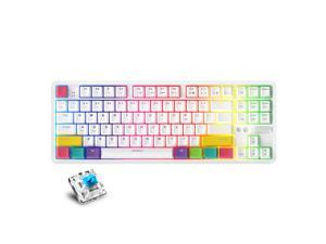 AJAZZ K870T BT&Wired Dual Mode Keyboard RGB 87 Keys Mechanical Game Keyboard for Phone/Tablet/PC White with OUTEMU Blue Switches