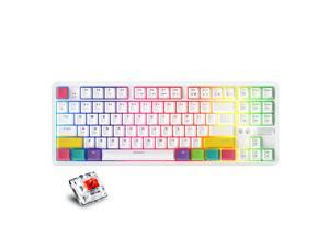 AJAZZ K870T BT&Wired Dual Mode Keyboard RGB 87 Keys Mechanical Game Keyboard for Phone/Tablet/PC White with OUTEMU Red Switches