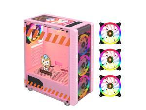 330-9 Gaming Computer Case Host Supports ATX MICROE ATX Motherboard 240mm Water Cooler Game Chassis Case RGB Pink