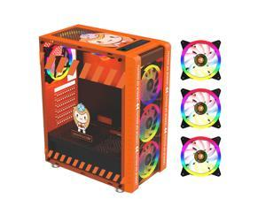 330-9 Gaming Computer Case Host Supports ATX MICROE ATX Motherboard 240mm Water Cooler Game Chassis Case RGB Orange