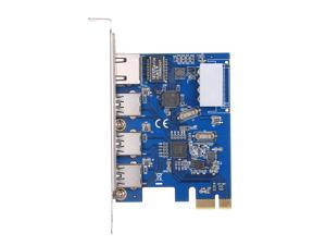 PCI-E to USB3.0 Expansion Card 3 USB3.0 Ports 4Pin Power Supply and Gigabit High Speed Network Support PCI-E 1x / PCI-E 4x / PCI-E 8x / PCI-E16x