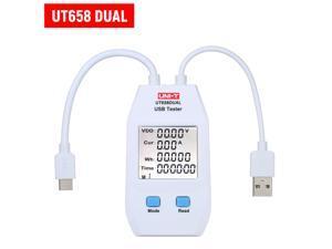 USB Power Meter LCD USB Tester Detector Voltmeter Ammeter Digital Power Capacity Tester (UT658-Dual)