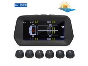 Tire Pressure Monitoring System Solar Charge 6 Alarm Modes Smart 0.01 High Accuracy LCD Color Display with 6 External Sensor for Light Truck Tires' Real-Time Pressure and Temperature(0~116PSI)