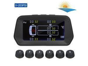 Tire Pressure Monitoring System Solar Charge 6 Alarm Modes Smart 0.01 High Accuracy LCD Color Display with 6 External Sensor for Truck Tires' Real-Time Pressure and Temperature(0~203PSI)