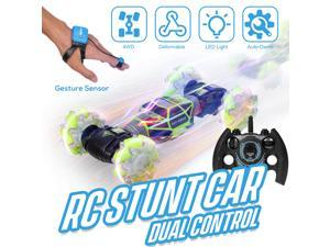 RC Stunt Car 4WD Watch Gesture Sensor Control Deformable Electric Car All-Terrain Transformable Car Auto-demo for Kids Christmas Gift w/ LED Light Music