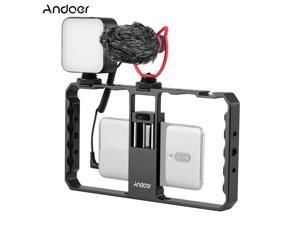 Andoer Smartphone Video Rig Grip with Rig LED Light Microphone with Shock Mount for Vlog Film-making Compatible with iPhone Samsung HUAWEI