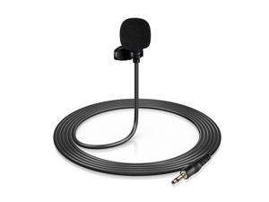 Mini Clip-on Lapel Lavalier Condenser Microphone with 3-Pin 3.5mm Plug 3 Meters Cable for Live Stream/Recording/Interview Compatible with Desktop Computer/Camera/Video Camera/Sound Card
