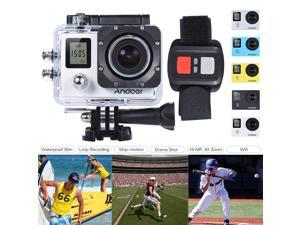 """Andoer 4K 30fps/1080P 60fps Full HD 16MP Action Camera Waterproof 30m WiFi 2.0""""LCD Sports DV Cam Camcorder 170 Degree 4X Zoom Dual Screen Car DVR w/ Remote Control"""