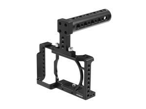 Andoer Camera Cage + Top Handle Kit Video Film Movie Making Stabilizer Aluminum Alloy 1/4 Inch Screw with Cold Shoe Mount for Sony A6500/A6400/A6300/A6000 Camera