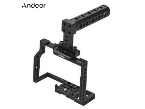 """Andoer G85 Aluminum Alloy Camera Cage + Top Handle Kit with Many 1/4"""" and 3/8"""" Mounting Holes 2 Cold Shoe Socket for Panasonic G85/G80 ILDC Camera to Mount Microphone Monitor Video Light Tripod"""