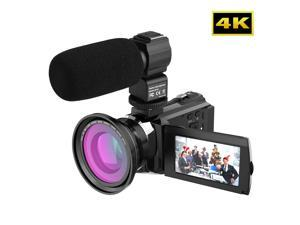 Andoer 4K 1080P 48MP WiFi Digital Video Camera Camcorder Recorder with 0.39X Wide Angle Macro Lens External Microphone Novatek 96660 Chip 3inch Capacitive Touchscreen IR Infrared Night Sight 16X