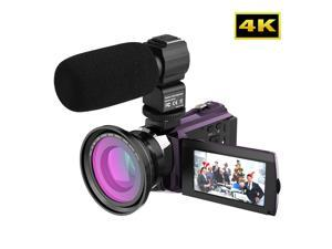 Andoer 4K 1080P 48MP WiFi Digital Video Camera Camcorder Recorder with 2pcs Rechargeable Batteries + 0.39X Wide Angle   Macro Lens + External Microphone Novatek 96660 Chip 3inch Capacitive Touchscreen