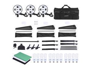 Andoer Photo Studio Lighting Kit 3pcs 50*70cm Softbox 12pcs 45W Bulb 3pcs 4in1 Bulb Socket 3pcs 2m Light Stand 1pc Cantilever Stick 1.6m*3m Black & White & Green Backdrop 1pc 2m*3m Backdrop Stand 3pcs