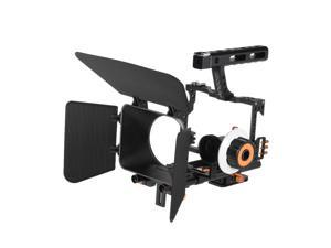 Andoer C500 Aluminum Alloy Camera Camcorder Video Cage Rig Kit Film Making System w/ Matte Box + Follow Focus + Handle + 15mm Rod for Panasonic GH4 for Sony A7S/A7/A7R/A7RII/A7SII ILDC Mirrorless