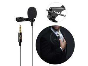 Professional Omni-directional Clip-on Lavalier Microphone Mic Cable Length 6M with 3.5mm Jack Adapter Windscreen for iPhone 6/6P Samsung Huawei Smartphone Tablet Laptop for Canon Sony Nikon Cameras