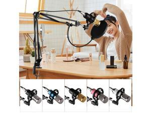 Professional Broadcasting Studio Recording Condenser Microphone Kit with Mic Windscreen + Shock Mount + Adjustable Suspension Scissor Arm Stand + Mounting Clamp + Pop Filter + Audio Cable