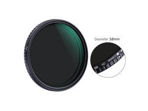 K&F CONCEPT 58mm Ultra-thin Adjustable Variable Neutral Density ND Filter Fader ND2-ND32 for Camera Lens for Canon Sony Nikon Cameras