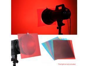 6pcs 25 * 20cm Transparent Lighting Color Correction Gel Sheets Filters Set for Flash Light Speedlite (Red/ Blue/ Green/ Cyan/ Yellow/ Magenta)