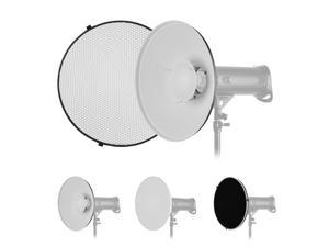16 Inch Beauty Dish Studio Photography Reflector Diffuser with Honeycomb Soft Cloth for Bowens Mount Speedlite Strobe Light(White Internal Surface)