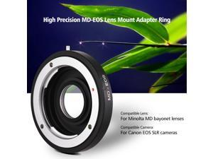 MD-EOS Lens Mount Adapter Ring with Corrective Lens for Minolta MD Lens to Fit for Canon EOS EF Camera Focus Infinity