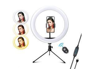26cm/ 10inch LED Video Ring Light Lamp Dimmable 3 Lighting Modes 2700K-6500K USB Powered with Ballhead Adapter Phone Holder Desktop Tripod Stand Wireless Remote Shutter for Live Streaming Selfie