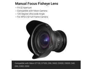 15mm f4.0 Macro Lens 120 Degree Wide Angle for Full Frame/APS-C Compatible with Nikon D7100/D7200/D90/D600/D3000/D5000/D40/D50/D300/D200