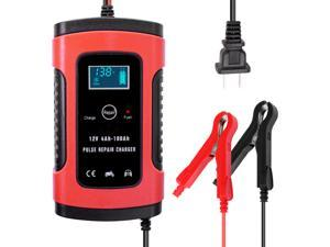 12V 5A  Full Automatic Car Battery Charger Intelligent Fast Power Charging Pulse Repair Charger Wet Dry Lead Acid Battery-chargers Car Jump Starter Emergency Starting Power with Digital LCD Display