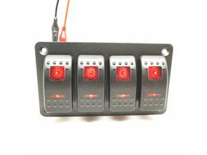 Universal Waterproof 2/4/6 Gang LED 12V/24V Car Caravan Marine Boat Mental Rocker Switch Panel Blue Red