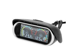 2 in 1 Universal 12.0V/24V LCD Liquid Crystal Car Digital Horizontal Gauge Water Temperature Voltage Gauges Meter Voltmeter