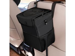 Car Trash Can Automotive Garbage Can with Lid Foldable Vehicle Trash Bin Container with Storage Pockets Waterproof & Leakproof Black