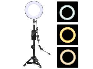 ZOMEI 8 Inch Desktop LED Ring Light 3 Lighting Modes Dimmable USB Powered with Phone Holder Mini Ball Head Tripod Stand Remote Control for Live Video Recording Network Broadcast Selfie Makeup