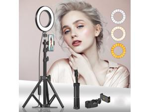 16cm LED Fill Ring Light for Photography Live Streaming YouTube Video with Tripod Head Phone Holder 50cm Tripod Stand