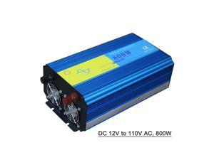 Power Inverter Vehicle Power Converter Universal Pure Sine Wave DC 12V to 110V AC, 800W