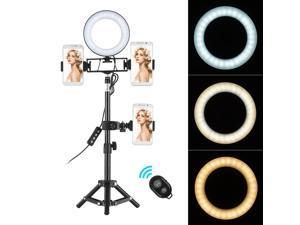 ZOMEI 6 Inch Desktop Mini LED Ring Light 3000-6000K 3 Light Modes & Dimmable Brightness with Wireless Remote Control Tripod Stand 3 Cell Phone Holders Camera Lighting Kit for YouTube Video Live Stream