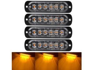 4 PCS Emergency Warning Lights for Vehicles Trucks Emergency Beacon Warning Hazard Flash Strobe Light 6 LED Surface Mount Waterproof