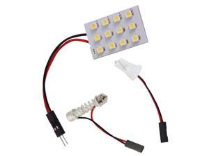 12SMD 3528 12 LED Panel White Car Reading Map Lamp  Auto Dome Interior Bulb Roof Light with T10 Adapter